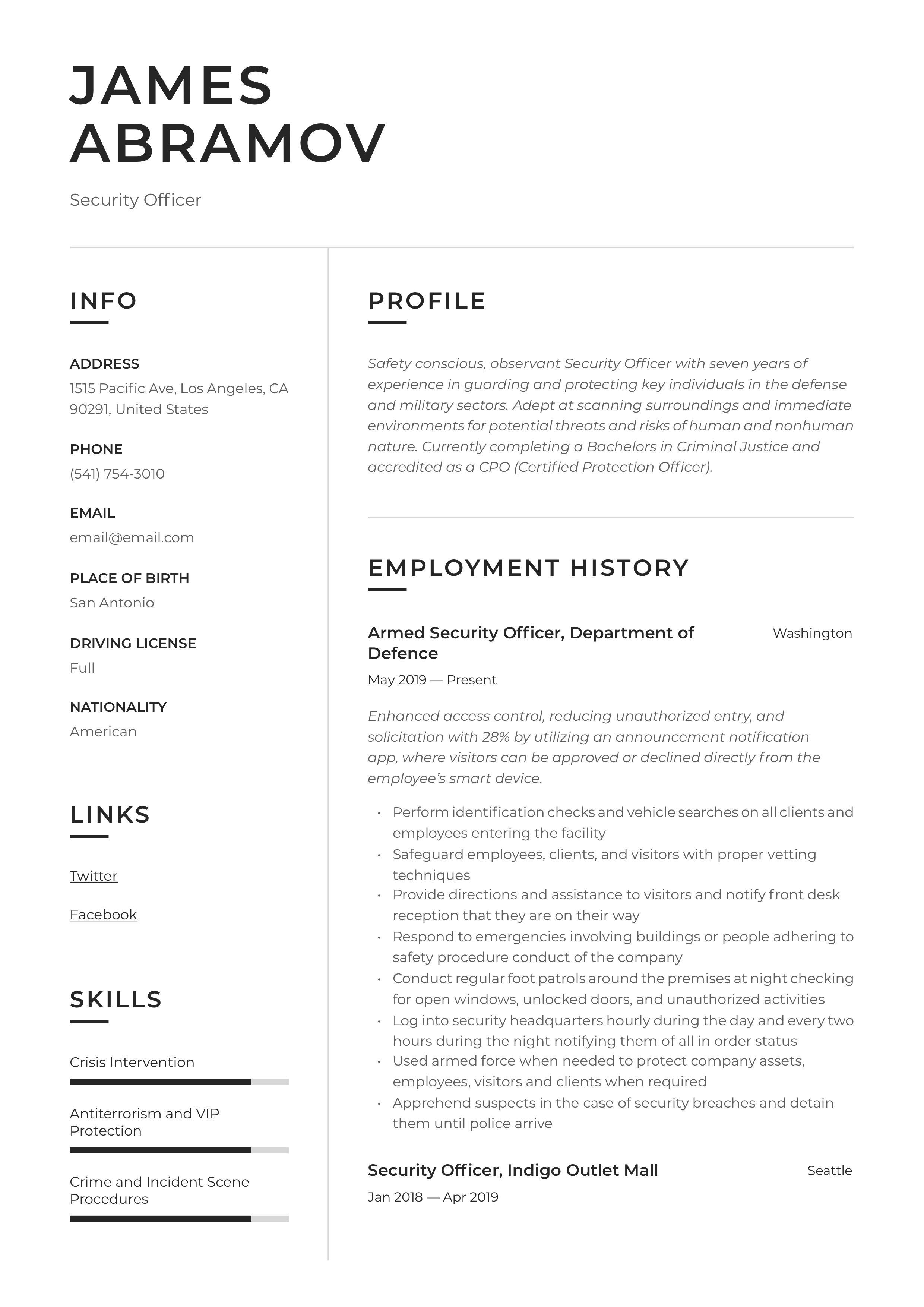 Security Officer Resume Sample in 2020 Security officer