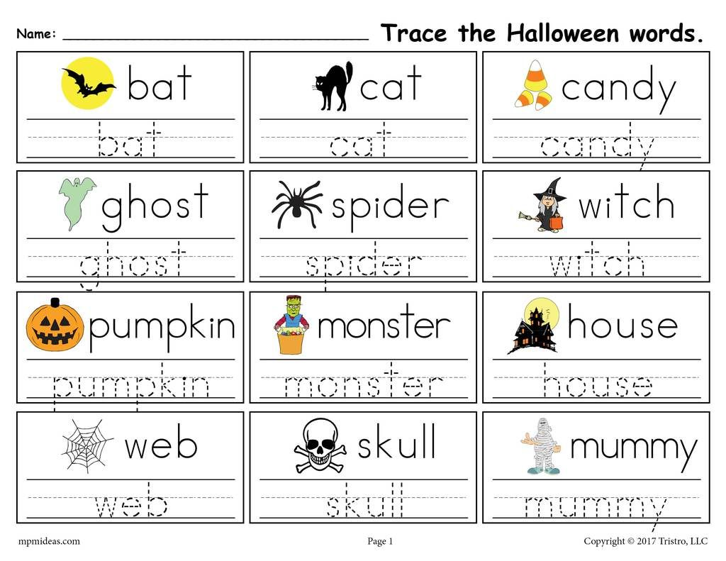 Free Printable Halloween Words Tracing Worksheet