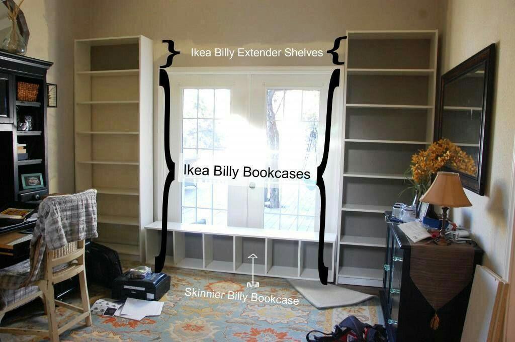 Diy ikea billy window bookshelves built in bookcase