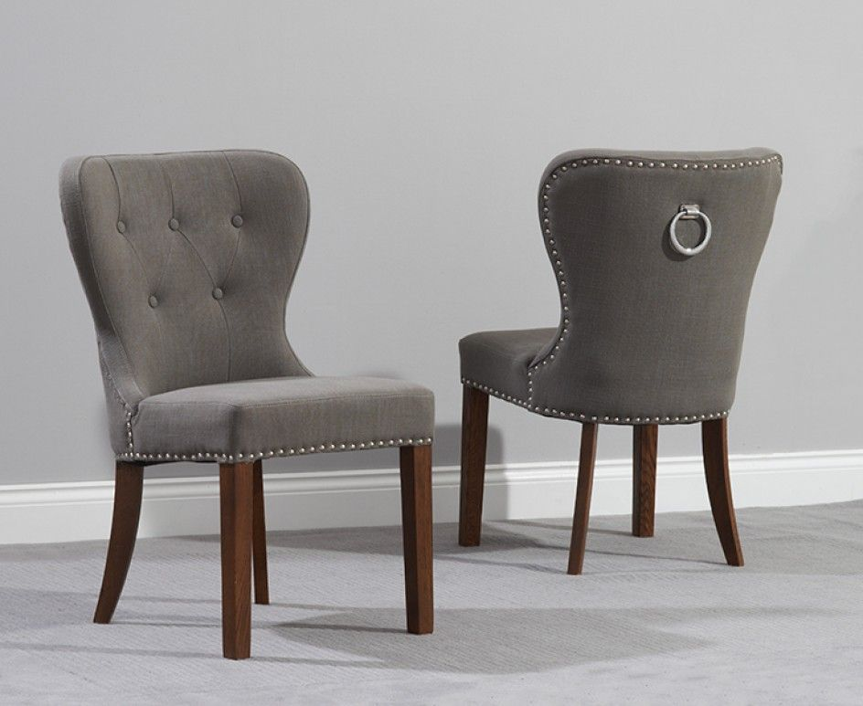 Etonnant Buy The Knightsbridge Studded Grey Fabric Dark Oak Leg Dining Chairs At Oak  Furniture Superstore