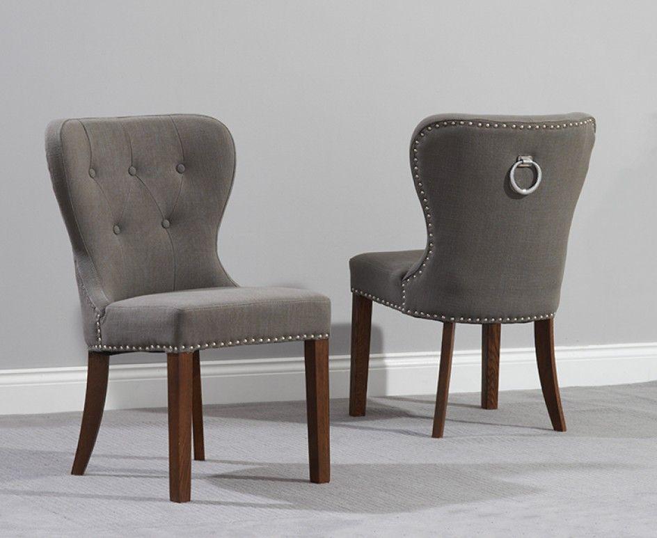 studded black fabric dark oak leg dining chairs pair