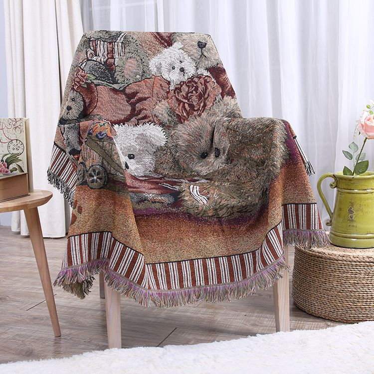 Colorful Cotton And Linen Blankets Thick Wall Decoration Decorative Carpet Sofa Blanket Full