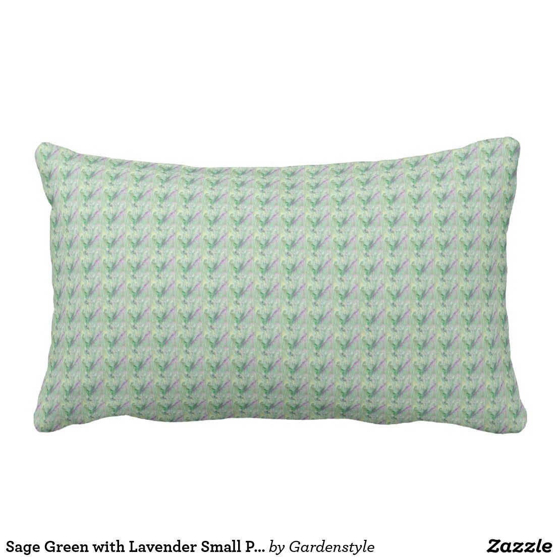 Sage Green With Lavender Small Print Lumbar Pillow Zazzle Com Pillows Throw Pillows Decorative Throw Pillows