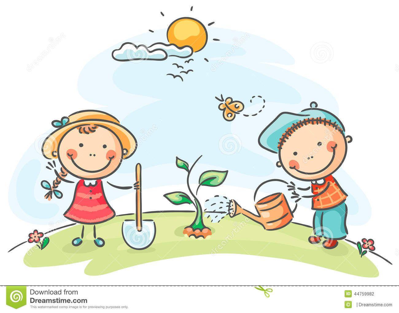 Kids Spring Activities Stock Vector Image 44759982 Happy Cartoon Cartoon Garden Cartoon