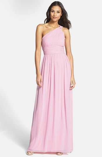 e1da2abbc0bf Donna Morgan 'Rachel' Ruched One-Shoulder Chiffon Gown (Regular & Plus)  available at #Nordstrom