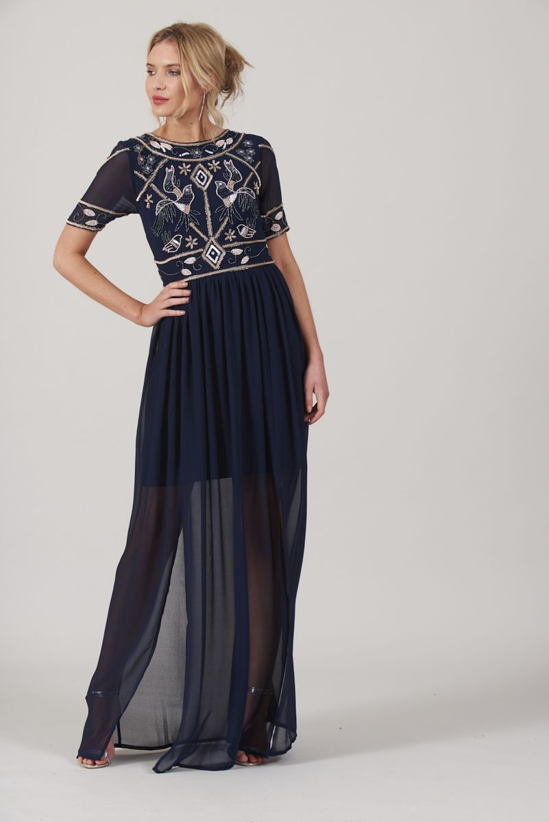 b5f4906ff58 Frock and Frill Cicley Navy Embellished Top Maxi Dress