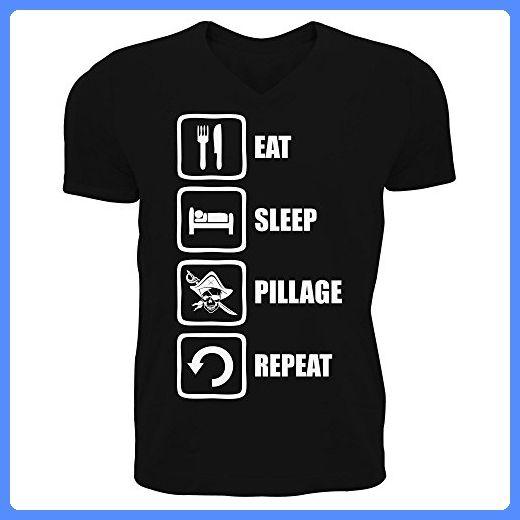 Eat Sleep Pillage Repeat Funny Pirate Graphic Men's V-Neck T-shirt Medium