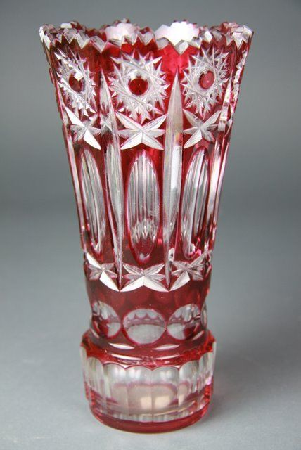 A Bohemian Ruby Overlay Cut Glass Vase 20th Century Of Flared