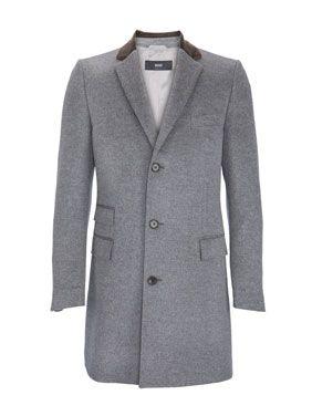 Boss Ledger Mantel Mit Samtkragen Grau Herren Mantel Mantel Modisch