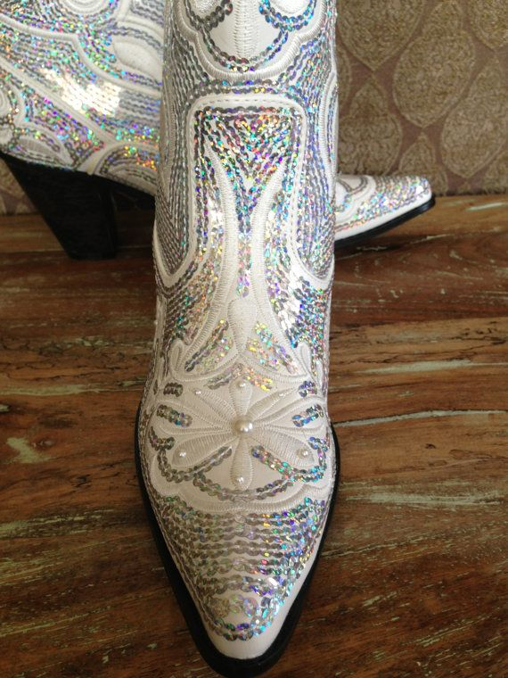 bridal bling cowboy boots country bride hand by laboutiquebride 9800