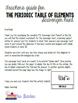 Periodic Table Of Elements Scavenger Hunt Packet Pinterest