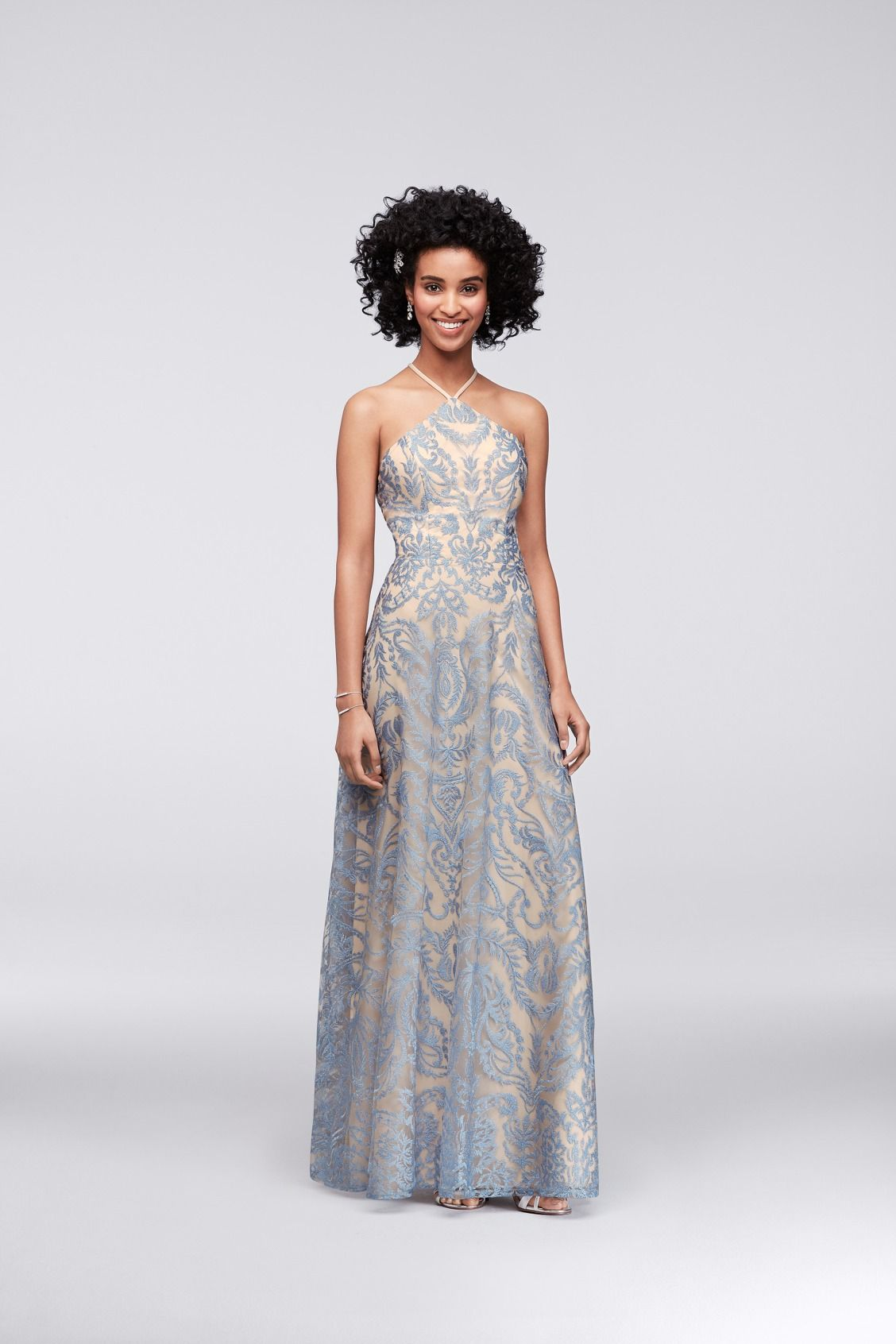 d0f6585775853 Blue Embroidered Illusion Halter with Strappy Back Prom Dress by Speechless  available at David s Bridal