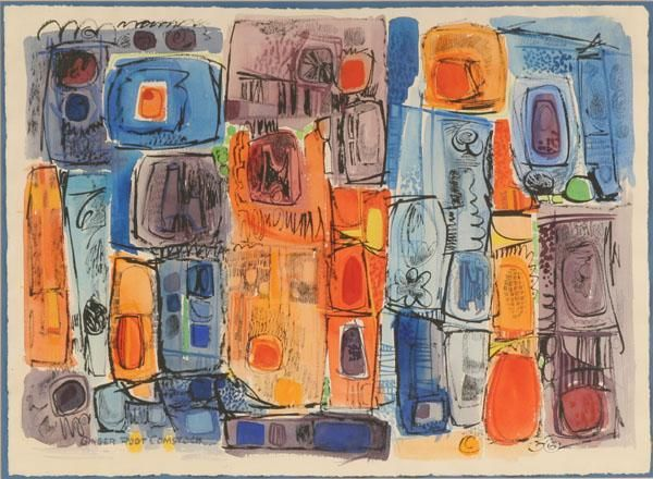 """One of my fovorites! Unknown abstract modern watercolor on paper; 22 1/2"""" x 30 3/4""""; titled 'Ginger Root Comstock', and possibly signed with monogram lower right. 'Vern Carver Frame Shop and Gallery, Minneapolis' label verso."""