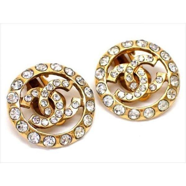 Pre Owned Chanel Gold Tone Metal Clear Rhinestone Coco Mark Earrings 1 565 Brl
