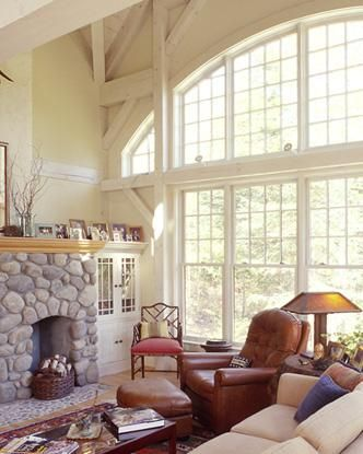 White timber frame Great Room   Home is where the heart is ...