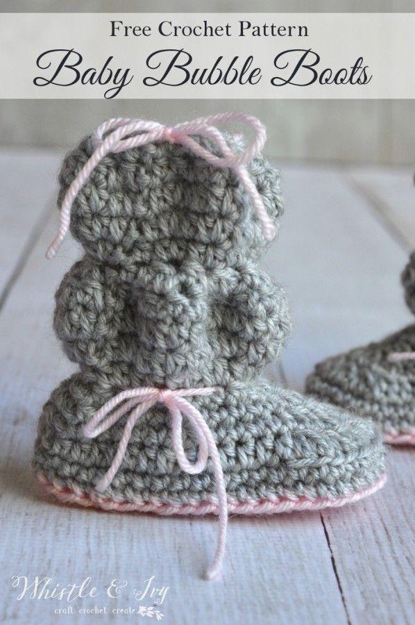 Crochet Bubble Booties | Encaje blanco, Patrón gratis y Canastilla