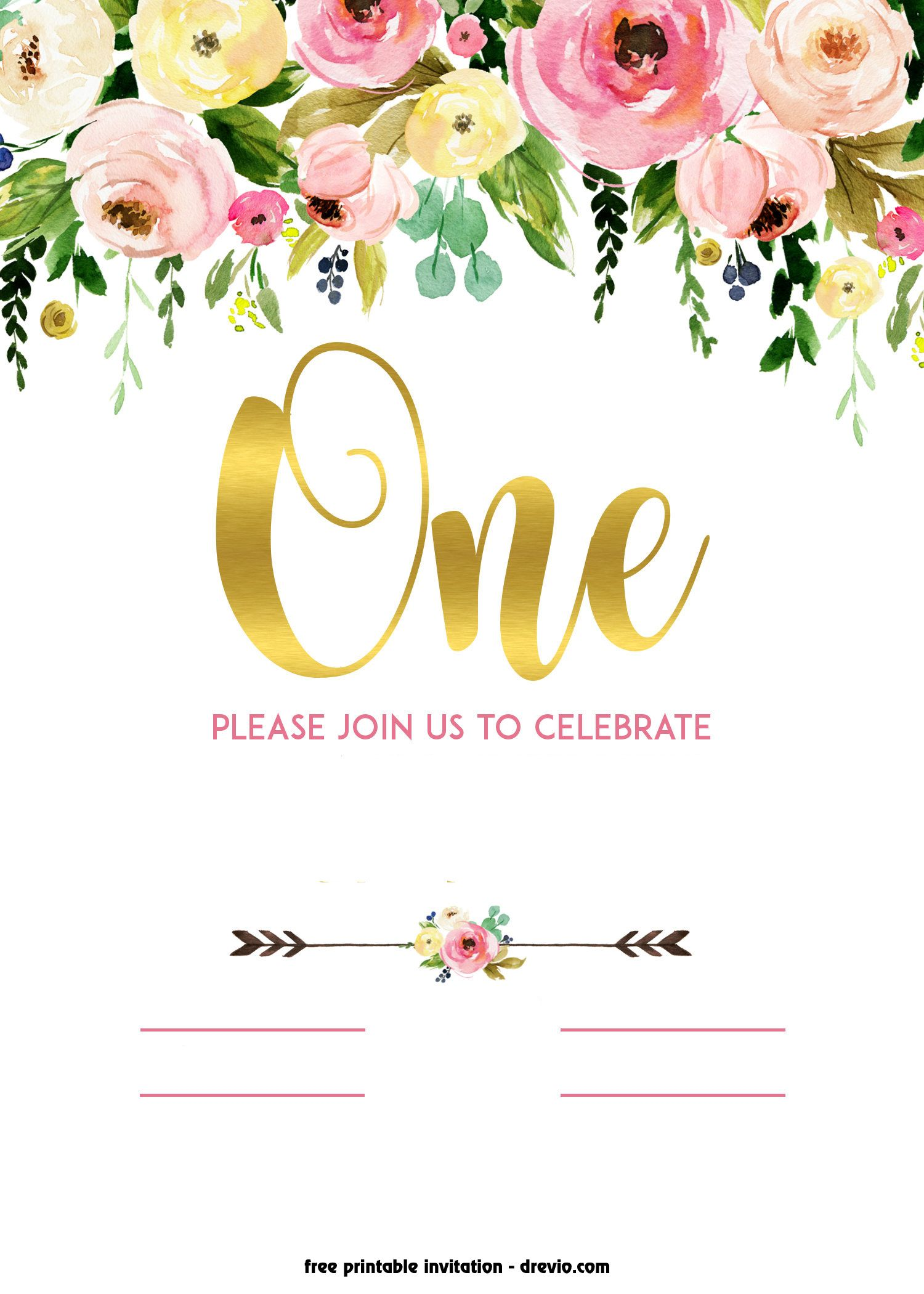 FREE Printable 1st Birthday Invitation - Vintage Style! in 2018 ...