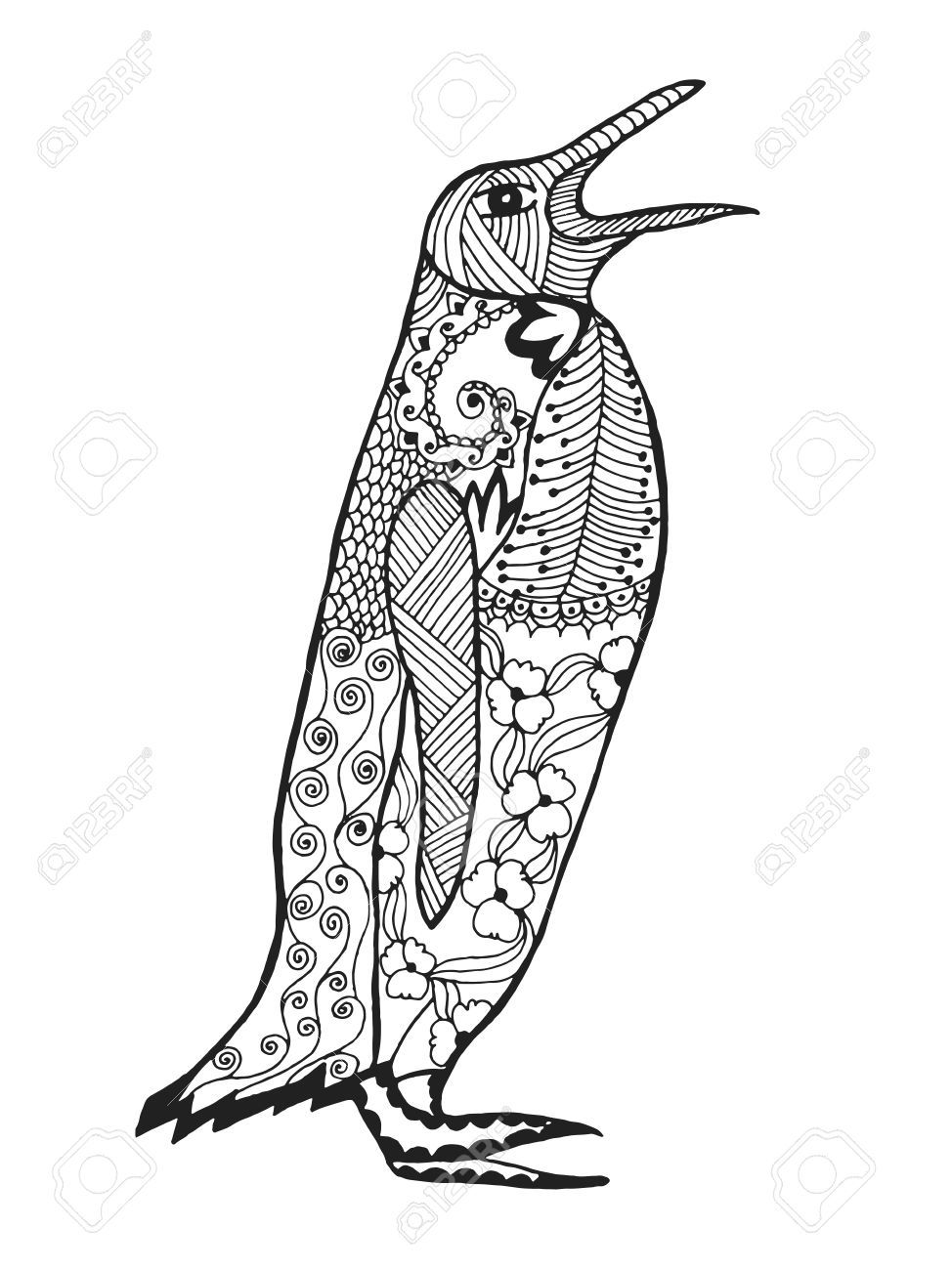 Leuke Pinguin Volwassen Antistress Kleurplaat Zwart Wit Hand Getrokken Doodle Dier Etnische Pa Etnische Patronen Kleurplaten Voor Volwassenen Handen Tekenen