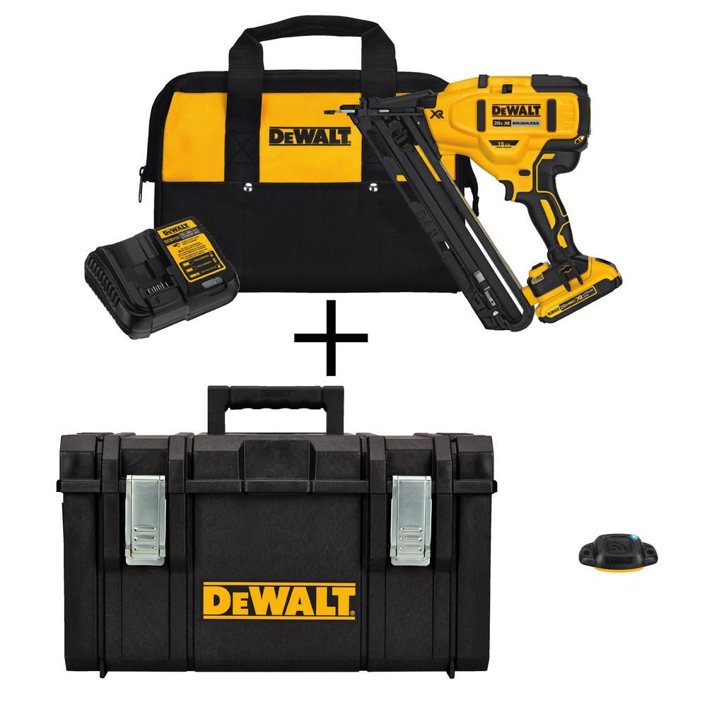 Dewalt 20 Volt Max 15 Gauge Lithium Ion Cordless Brad Nailer Kit W Bonus 22 In Large Tool Box Bluetooth Tag Tool Box Installing Hardwood Floors Milwaukee Tools
