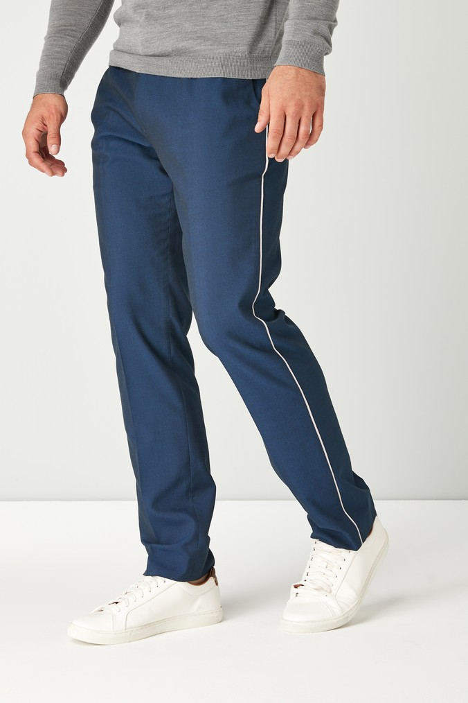 1b97e2b25 Mens Next Blue Slim Fit Side Tape Trousers - Blue | Products in 2019 ...