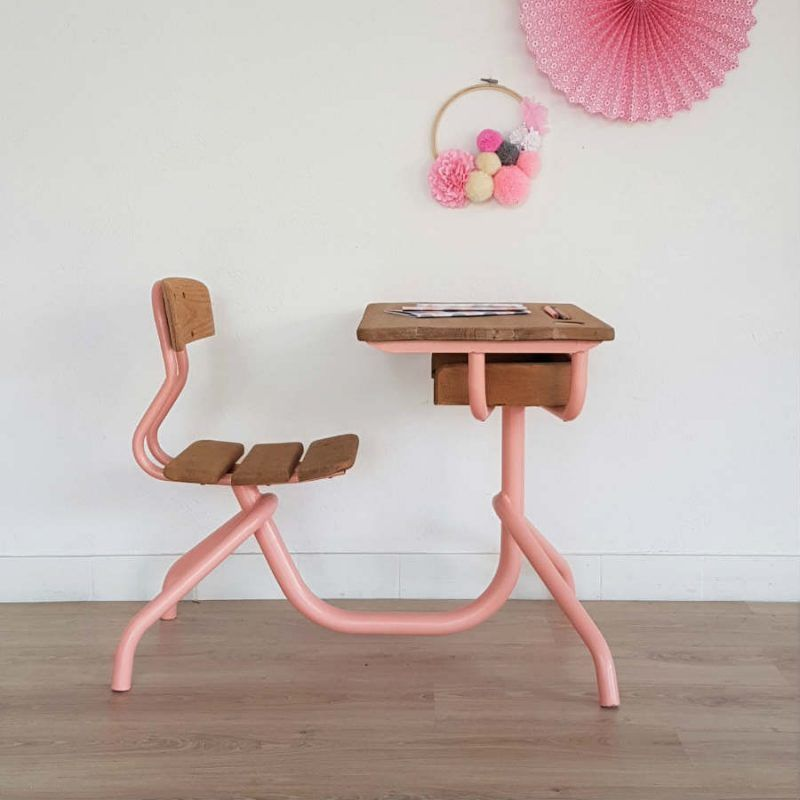 bureau enfant pupitre d 39 colier vintage 1 place bois m tal rose r tro chouette fabrique. Black Bedroom Furniture Sets. Home Design Ideas