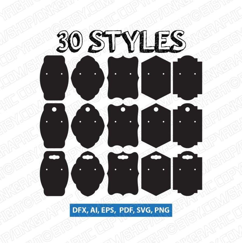30 Styles Earring Display Cards Svg Earring Cards Template Earring Cards Diy Earring Cards