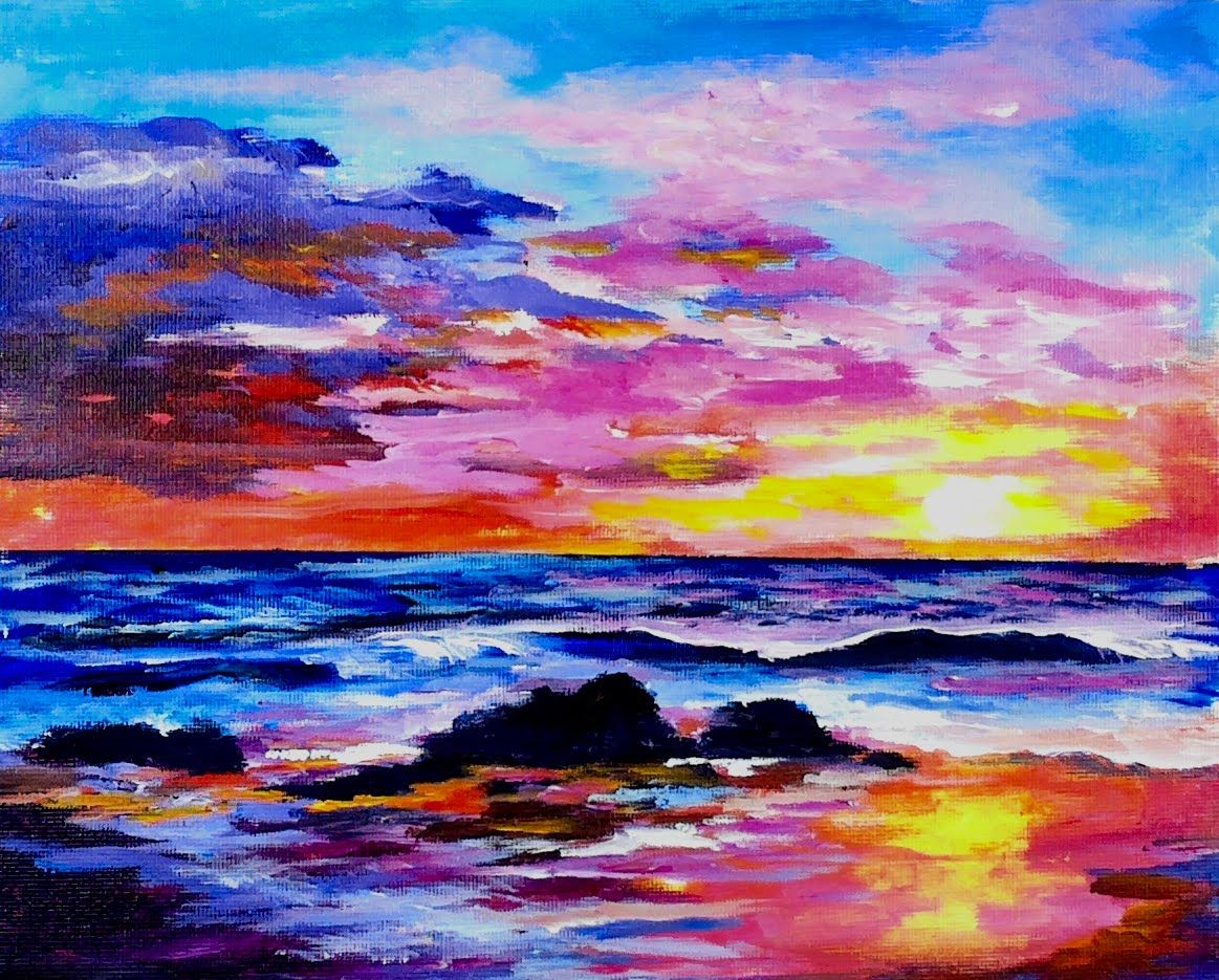 Learn To Paint A Sunset And Ocean Full Acrylic Lesson