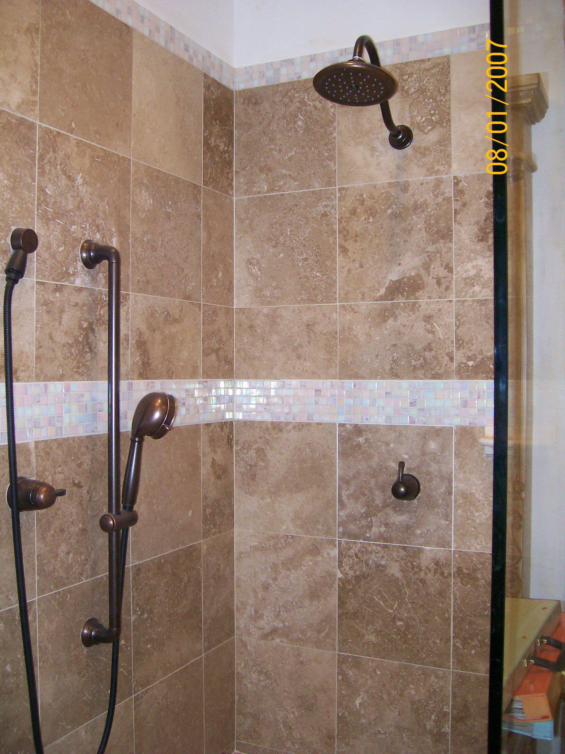 Tiled Bathroom Shower Ceramic Tiled Shower with Iridescent Glass