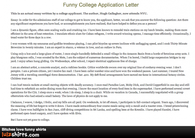best college essay ever funny Get the latest comedy central shows, the daily show, inside amy schumer,  south park, broad city and comedy central classics like chappelle's show and .