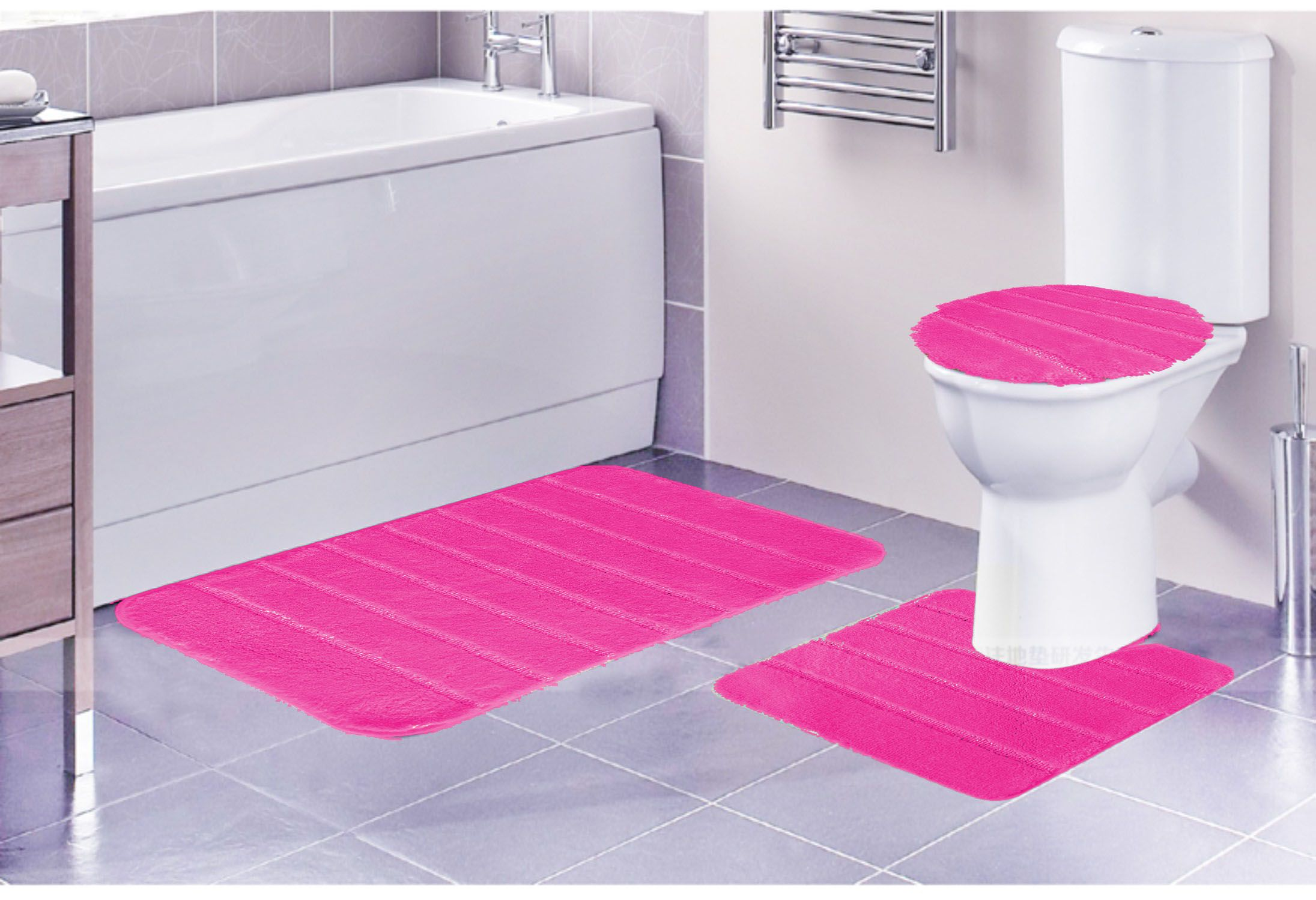 Louise Ribbed 3 Piece Bathroom Rug Set Bath Contour