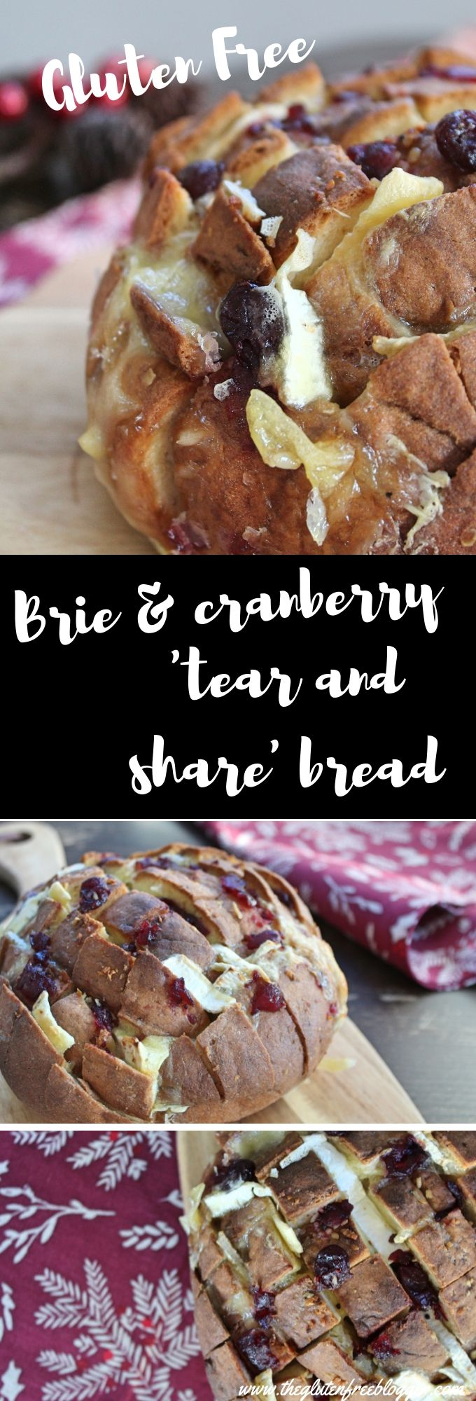Gluten free 'tear and share' bread with brie and cranberry #tearandsharebread