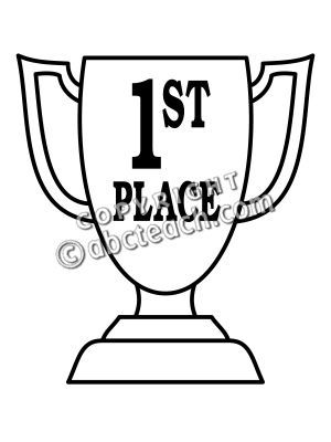 Clip Art: Trophy: First Place (coloring page) | abcteach | Box ...