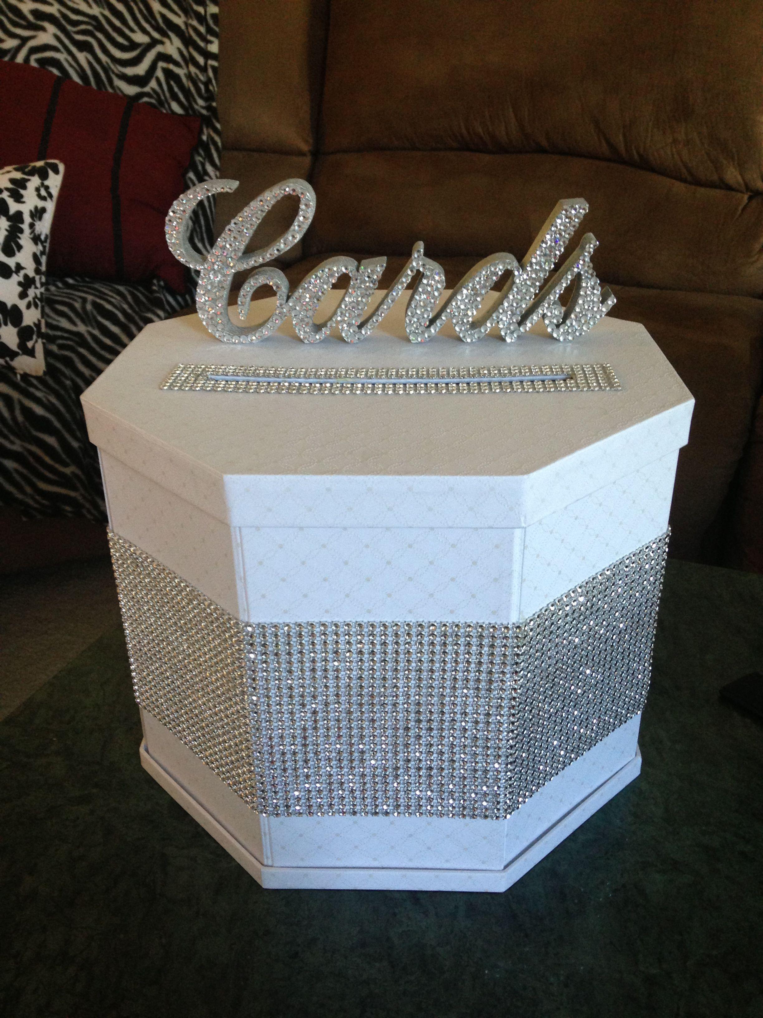 Diy blinged out gift card box wedding gift card box