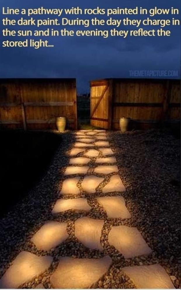 Glow in the dark path - stone oath painted with glow in the dark paint. I want this!