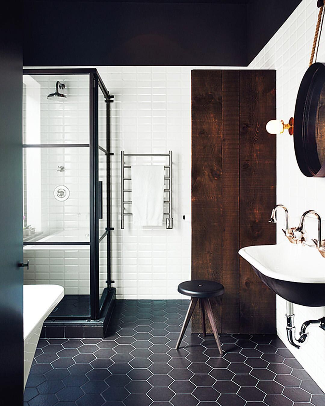 Instagram photo by @mydomaine • 3,781 likes - black bathroom tiles ...