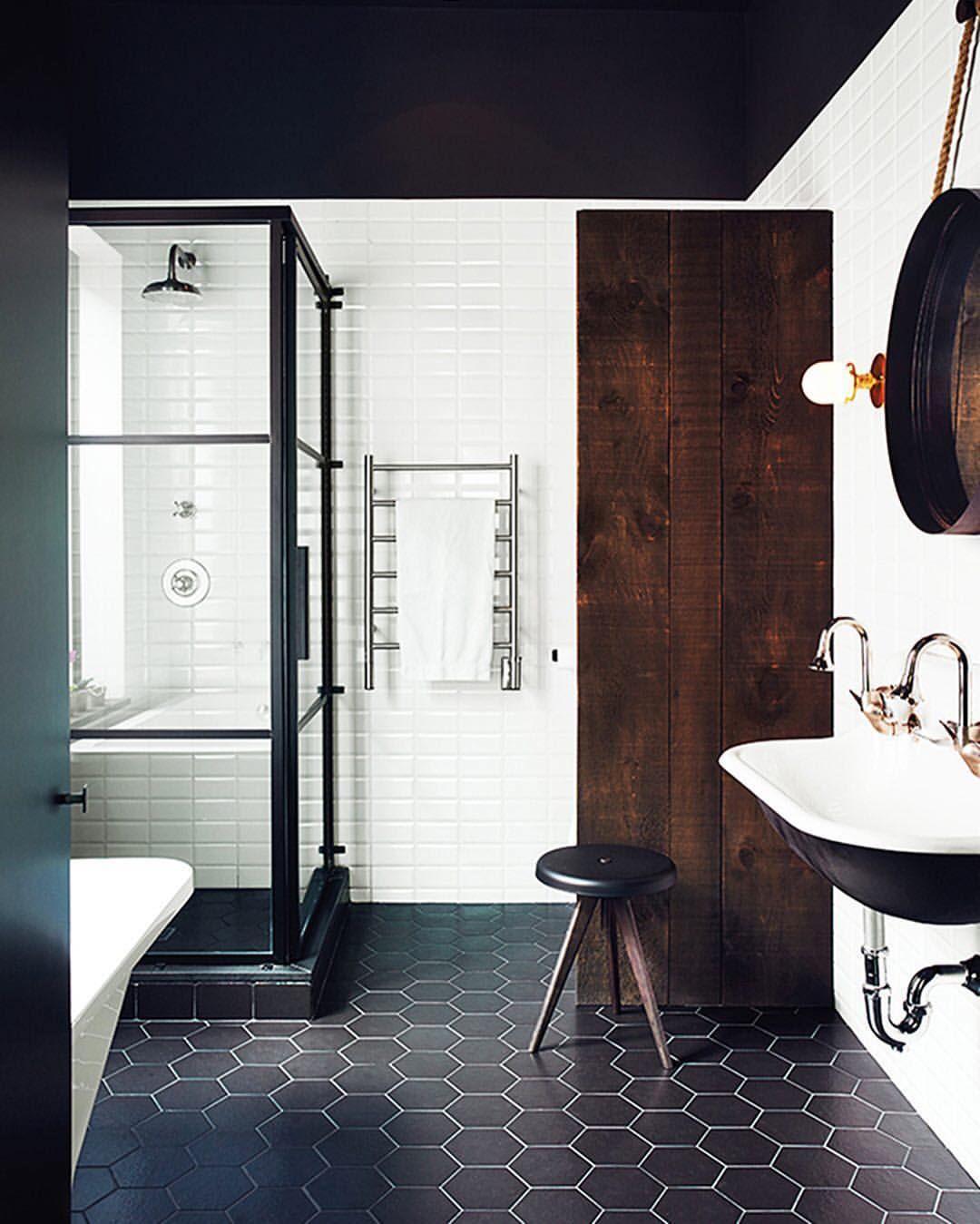 Instagram photo by @mydomaine • 3,781 likes - black bathroom tiles ...