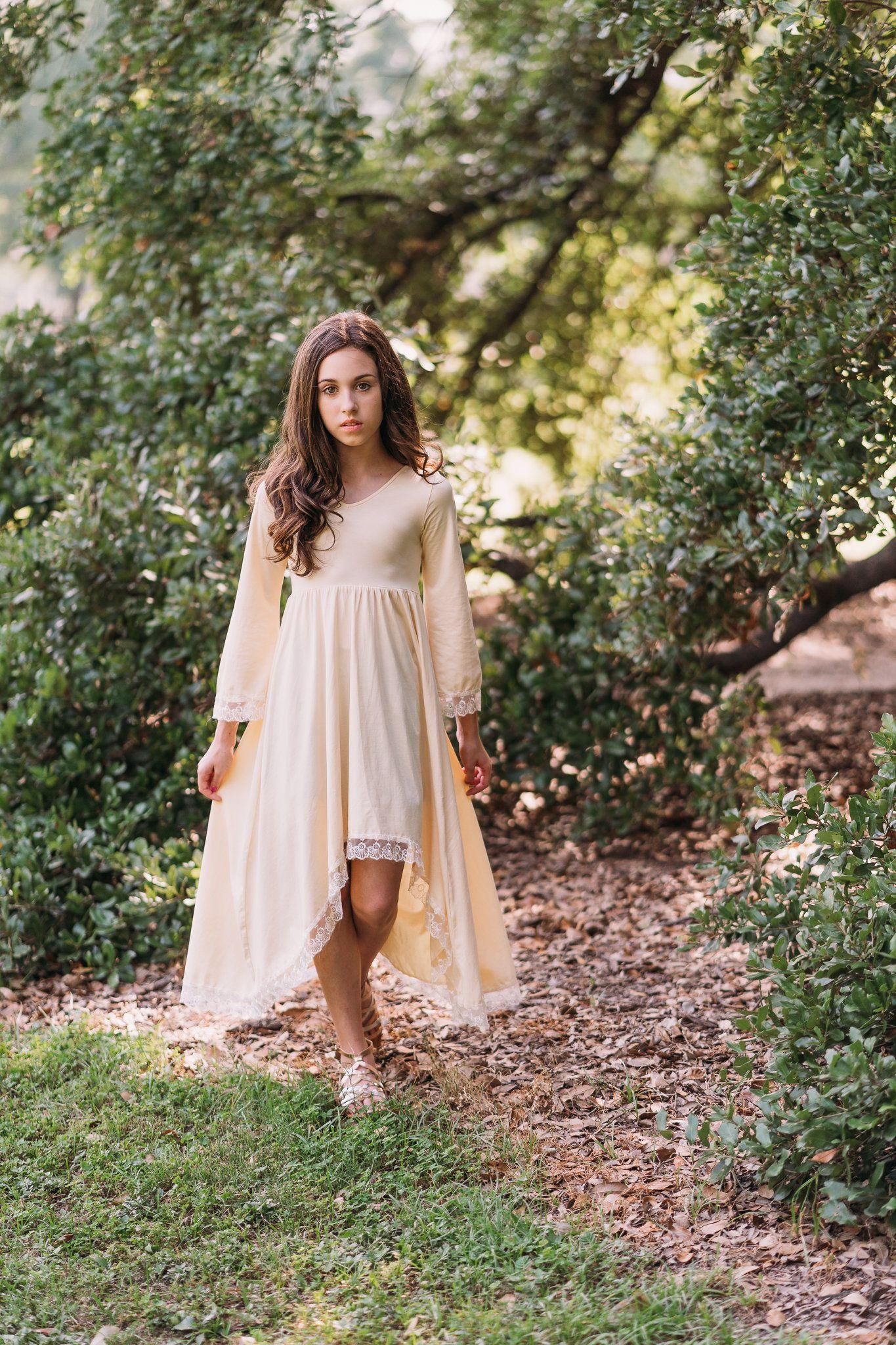 Ivory cream flower girl dress tween rustic country maxi