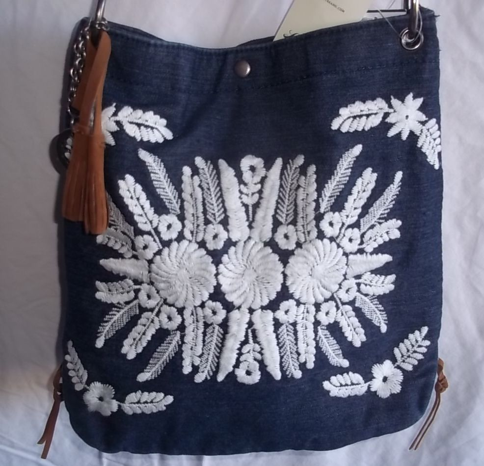 Lucky Brand Pueblo Crossbody Denim Embroidered Shoulder Bag Nwt