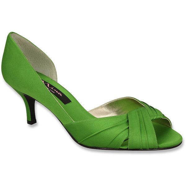 Nina Women's Culver Pumps ($81) ❤ liked on Polyvore featuring shoes, pumps, apple green, nina pumps, satin pumps, green peep toe pumps, peep toe shoes and formal shoes
