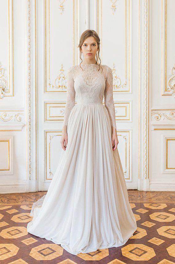 Custom Lace Long Sleeve Wedding Dress With Tiered Skirt And Etsy Long Sleeve Wedding Dress Lace Long Sleeve Wedding Wedding Dress Long Sleeve