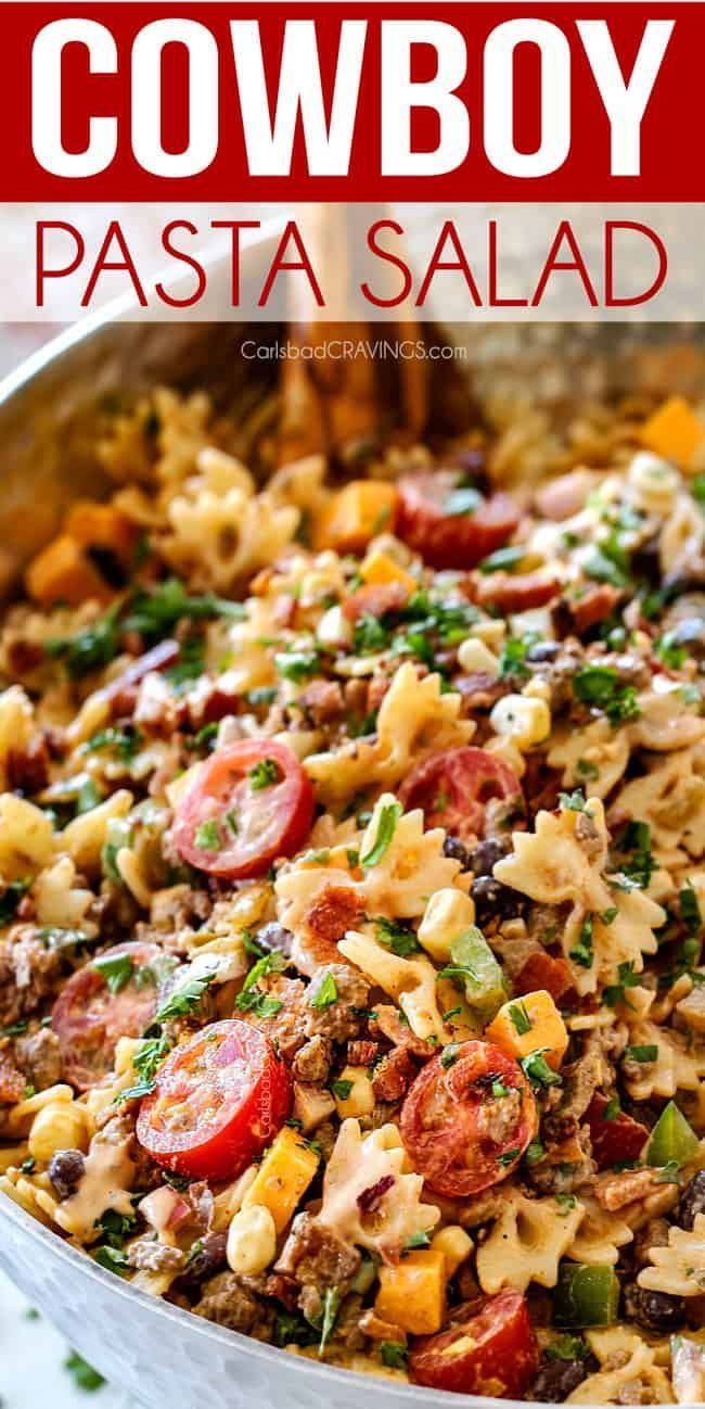 Photo of up close of Cowboy Pasta Salad with ground beef, black beans, corn, tomatoes and…