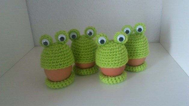 Eierwärmer Famile Frosch Gehäkelt Grün Diy Design