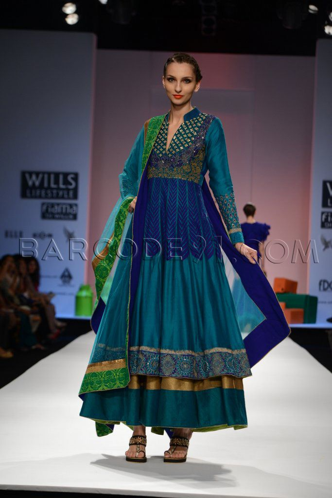 Blue embroidered anarkali suit.