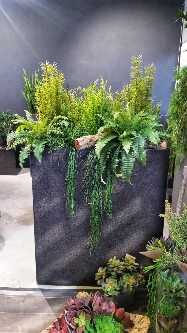raumteiler sichtschutz innendesign kunstpflanzen