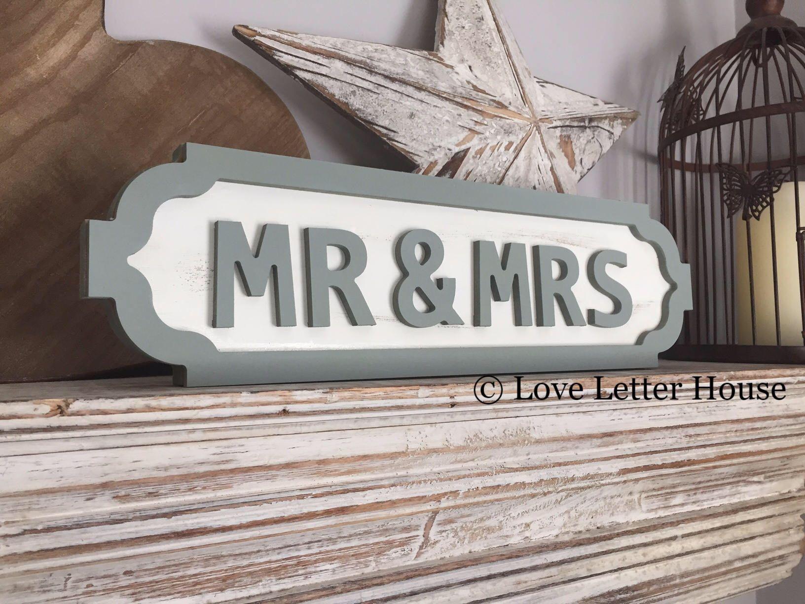 Wedding Street Sign Wooden Street Sign Mr Mrs Vintage Style
