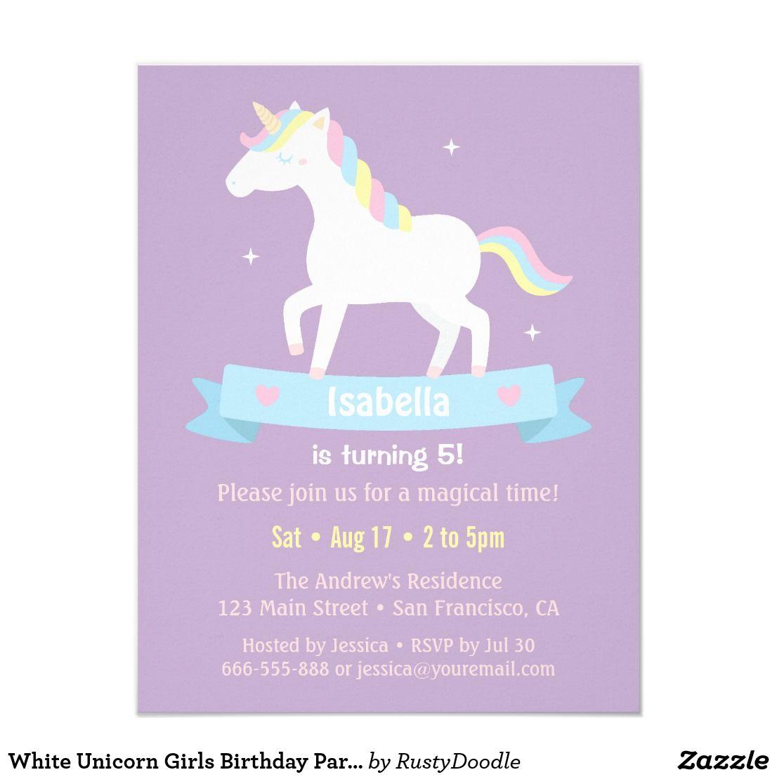 White Unicorn Girls Birthday Party Invitations | White unicorn, Girl ...