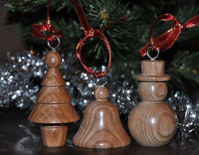 Handmade wood Christmas decorations £1200 #woodlatheideas Wood - wood christmas decorations