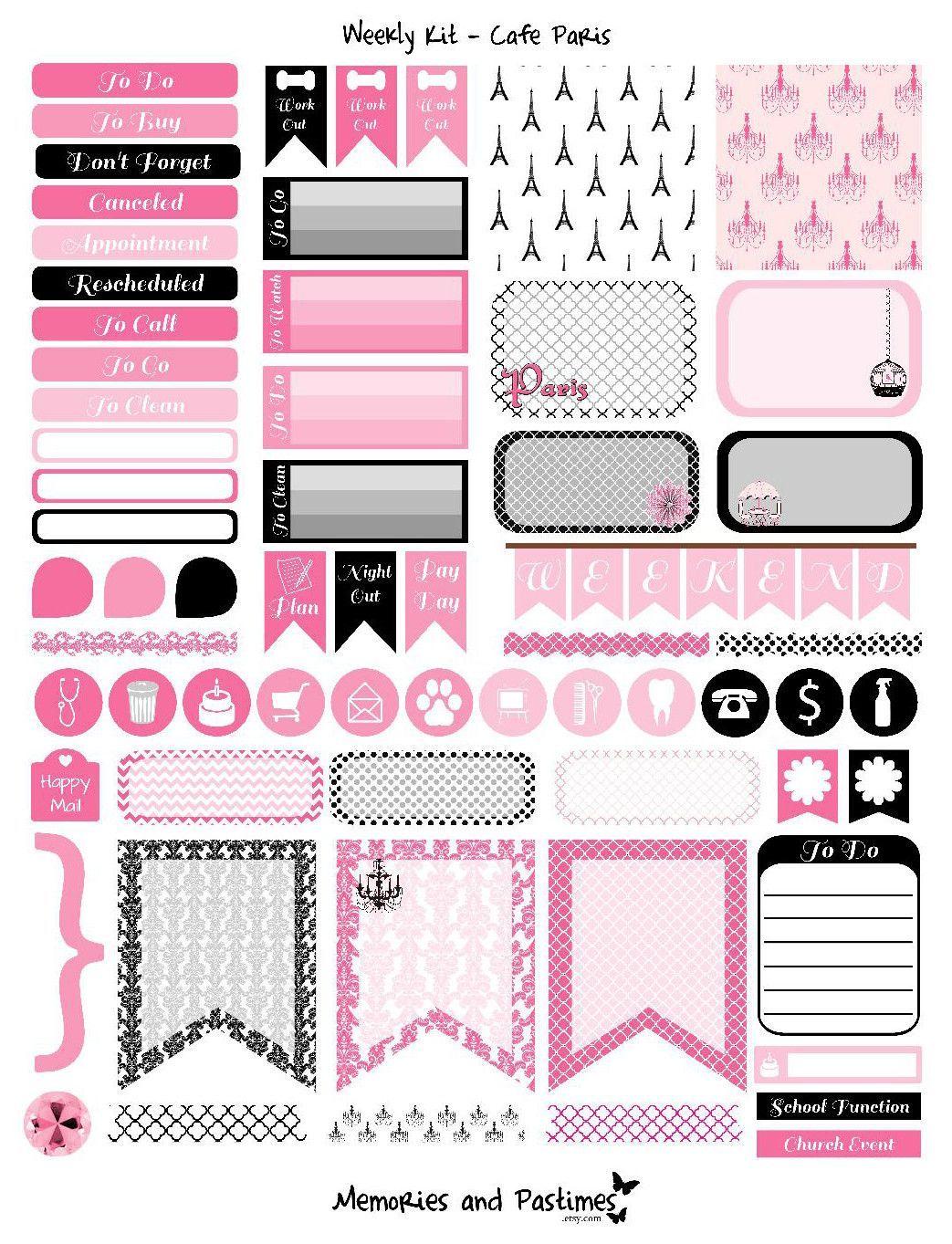weekly kit planner sticker set - cafe paris | filofax