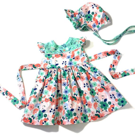 9 Month To 12 Month Baby Dress Floral Infant Dress Special Occasion Dress First Birthday Dress Floral Handmade Dress With Baby Bonnet With Images Handmade Kids Clothes First Birthday Dresses Baby Dress