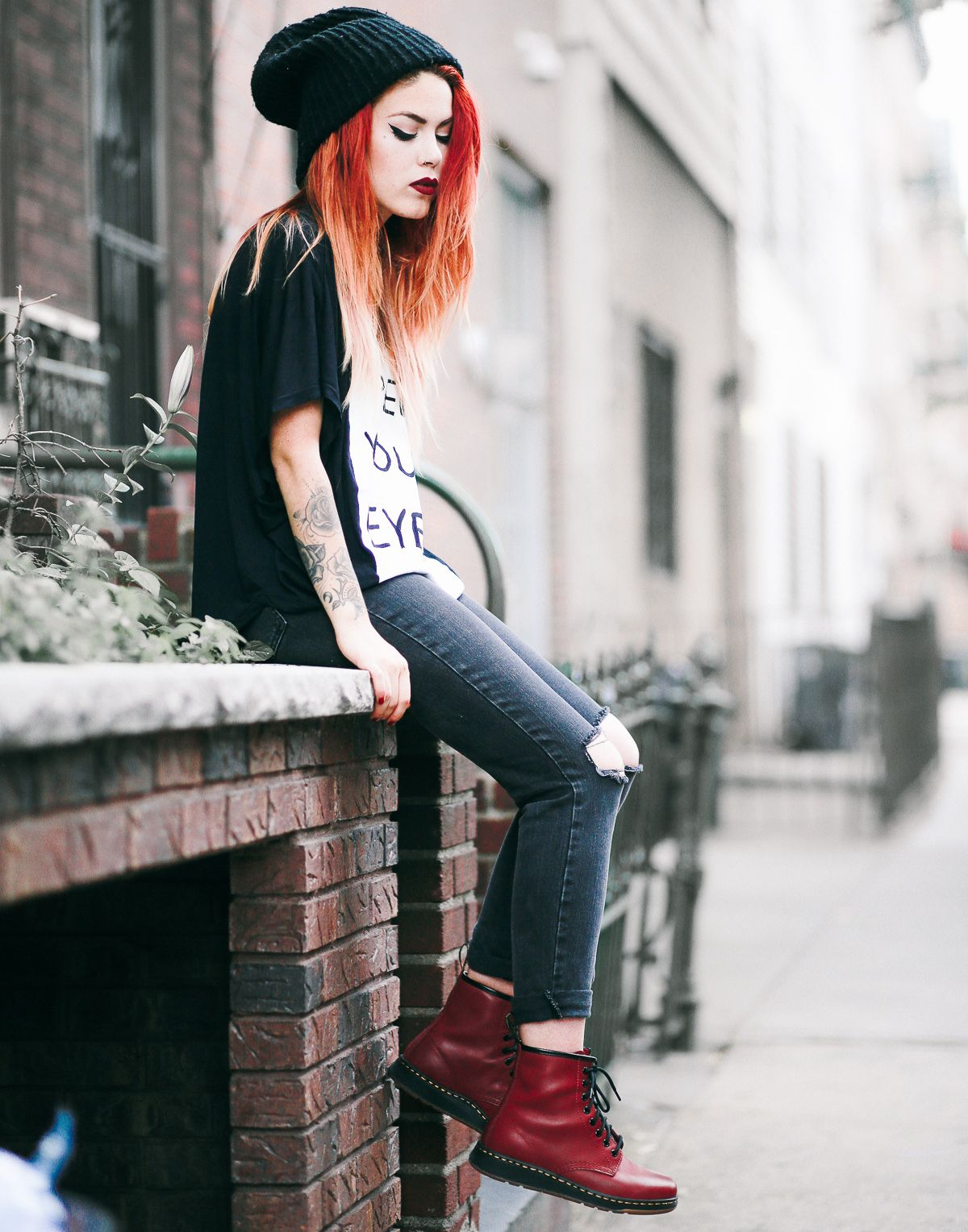 5278d54a1704 The Newton boot in cherry red from the new #DMsLITE range. Worn by Luanna.